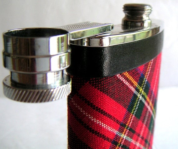 Vintage Red Plaid Flask, Stainless Steel, Made in England. 6oz.