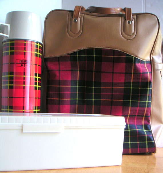 Vintage Red Plaid King Seeley Thermos Set With Carrying Case, Mad Man,Father's Day