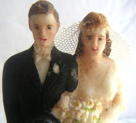 Vintage Wedding Cake Topper 1920s - Wedding Day,Romance,Bride,Groom (RARE)