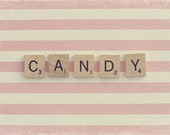 Scrabble Quote, Scrabble Letters, Scrabble Wall Art, Scrabble Art, Pink And White, Nursery Art, Sweet Sugar, Pink Candy, Home Art Decor