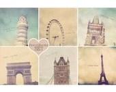 Eiffel Tower Print, Tower Of Pisa Print, Charles Bridge Print, Tower Bridge Print, London Eye Print, Paris Photo, Arc De Triomphe Art