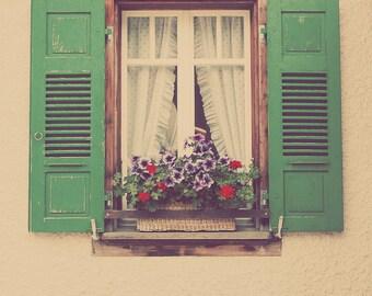 Shabby Chic Art, Purple Flowers, Green Decor, Lavender Decor, Purple Decor, Window Box, Wooden Windows, Fine Art Print, Home Art Decor