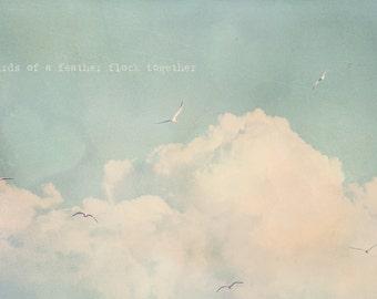 Birds Of A Feather, Birds Flying, Flying Birds, Puffy Clouds, Photo Quote, Bird Photography, Bird Photo, Bird Print, Mint Green Decor