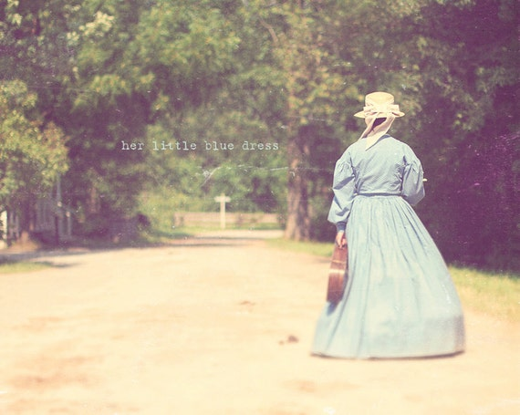 1800s Woman, Shabby Chic Art, Gift For ViolinistBlue Decor, Woman In Blue, Pioneer Art, Home Art Decor, Typography Photo