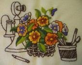 Vintage Crewel Flowers Phone Unframed