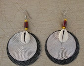 Cowrie shell disc earrings
