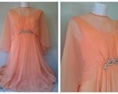 Peach Duchess...  Custom OOAK Vintage Elegant peach formal gown/dress with cape & pearls
