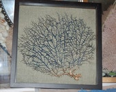 Sea Fans - Chocolate Brown Tree Fan Framed with Gold Leaf accent against a Beige Linen Fabric
