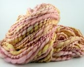 SALE take 25% off - Handspun thick and thin yarn pink coral yellow FROSTED SQUARES