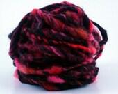 SALE - take 25% off - Handspun art yarn red orange brown icelandic FEISTY