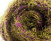 Art yarn handspun bulky purple green PURPLE OLIVES