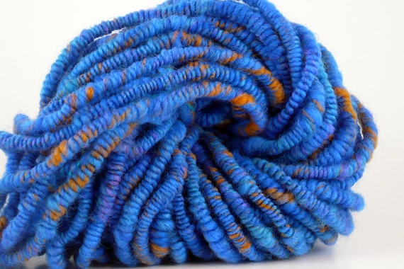 Sale 20% off Supercoil Art Yarn Blue Orange SUGGESTION OF SUNSET