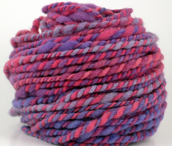 Pink and Lavender Handspun Yarn Rambouillet PURPLEY-WURPLEY