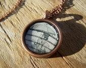 Vintage Stamp Umbrella Man Resin Brass Pendant Necklace