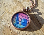 Vintage Stamp Rainbow Statue of Liberty Resin Brass Pendant Necklace