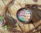 Vintage Stamp Roses Galore Resin Brass Pendant Necklace