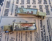 Vintage Stamp Maritime Americana Metal and Resin Hair Clips