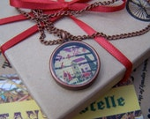 Antique Brass Pendant Necklace Vintage Stamp Homemaker Pendant Fuscia Red Green Home Love Family