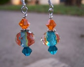Turquoise Orange Kaleidoscope Drop Earrings