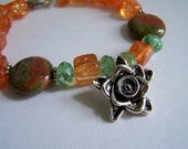 Unakite Cracked Class Crystal Orange Green Silver Rose Pendant Beaded Bracelet