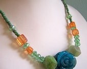 Orange Cracked Glass Turquoise Green Quartz Carved Rose Stone Beaded Necklace