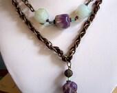 Purple Green Quartz Burgundy Silk Ribbon Brass Chain Pendant Necklace Unique Gift Stone Deep Purple Maroon Green Glass Pewter Filigree