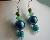 Blue Green Stone Pearl Crystal Drop Earrings Lime Sea Green Turquoise Teal Silver