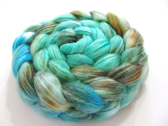 Panda - SW Merino / Bamboo / Nylon Wool Top (Roving) - Spinning Fibre - 4 oz. - Serenity Now - 1