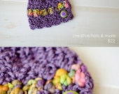 Crochet purple Beanie  with handpainted thin and thick yarn