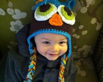 Crochet owl earflap hat  ANY size