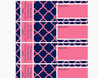 WRAP AROUND Address Labels- Navy and Pink: Printable Custom