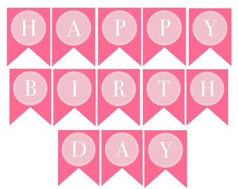 INSTANT DOWNLOAD, DONUTS & Dots, Printable Happy Birthday Banner (Party Decoration)