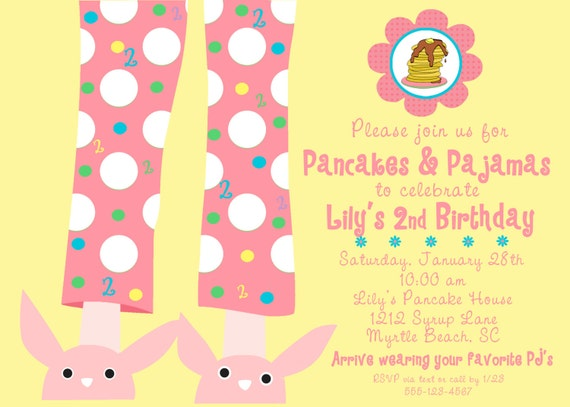 PANCAKES & PAJAMAS Invitation, Yellow and Pink,  As Seen on Pizzazzerie, PRINTABLE by Libby Lane Press