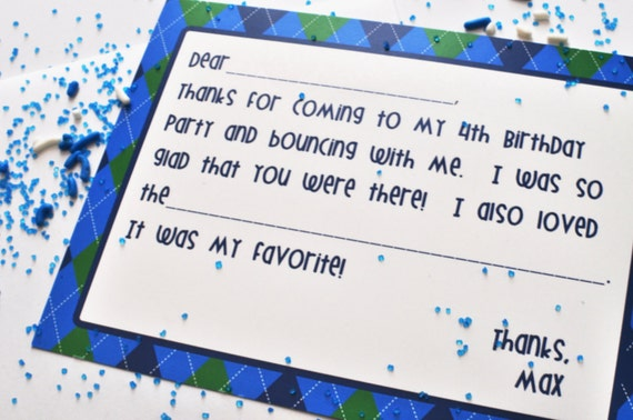 BOUNCE House THANK YOU- Fill-In Thank You Note - Blue and Green- Libby Lane Press