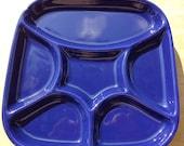 Two Cobalt Blue Divided Ceramic Plates, Japan