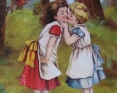 Girl Kisses, Love & Affection, Gay, Lesbian Friendship, Greeting Card, Blank Inside,