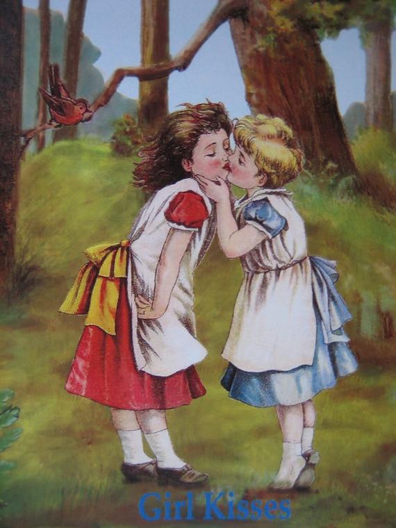 Girl Kisses, Love & Affection, Gay, Lesbian Friendship, Greeting Card, Blank Inside,
