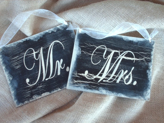 Shabby Chic Mr. and Mrs. Wedding Signs Photo Props