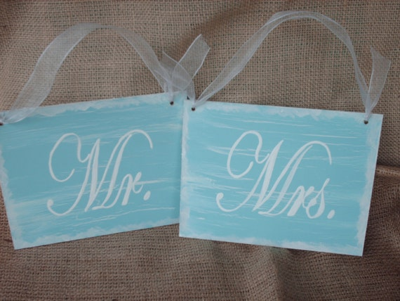 Aqua and White Shabby Chic Mr. and Mrs. Signs Wedding Photo Props and Decor