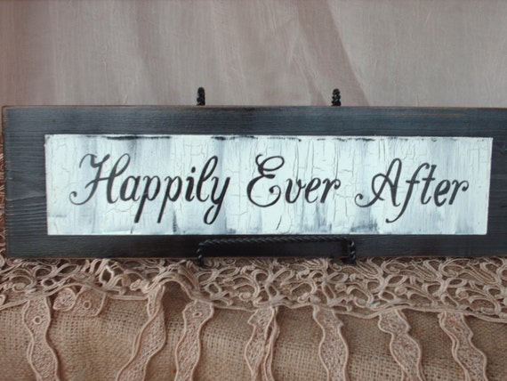 Rustic Happily Ever After Wedding Sign Decor and Photo Prop