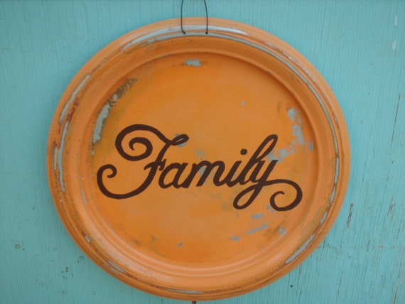Shabby Chic Distressed Metal Family Sign Home Decor