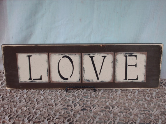 Rustic Brown and Ivory Love Wedding Sign and Home Decor