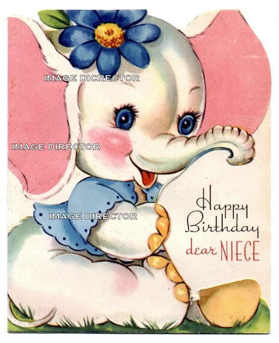 vintage happy birthday card niece pink elephant digital image, Birthday card