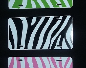 Personalized Zebra Print License Plates (Made to Order)