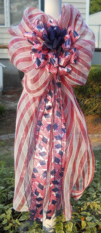 Four Patriotic Mesh Outdoor Post Lamp Bows (Custom for Larry Coleman)