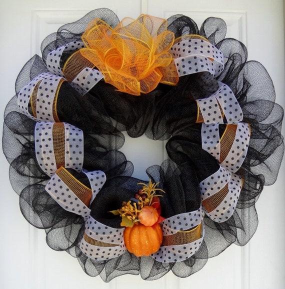 Black Mesh  Fall Harvest/Halloween Wreath w/ black & White Polka Ribbon (60% Off SALE)
