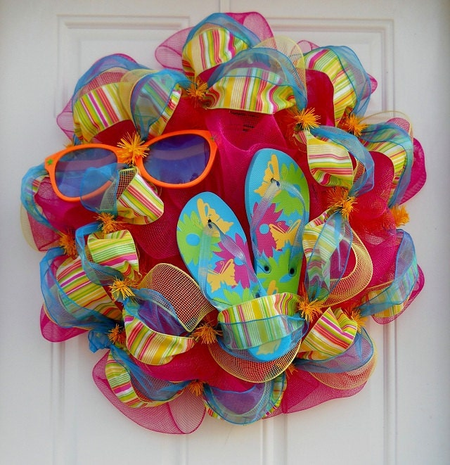 Flip flop wreaths flip flop decorations flip flop welcome wreath flip - Pink Mesh Summer Fun Wreath