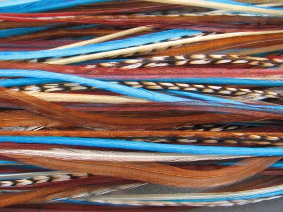 Feather hair extensions - BLUE WHISPERINGS - 5 feathers... You choose loose, bundled or with clip... free crimp beads...