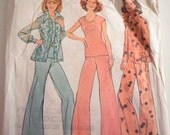 Vintage Sewing Pattern Simplicity Wide Leg Pants Bell Bottoms 6668 1970s