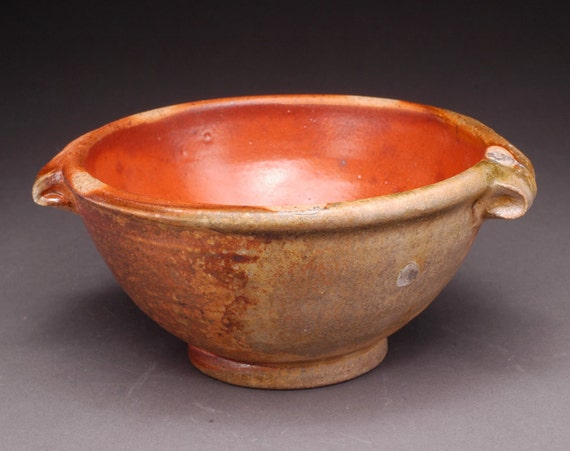 Wood Fired Soup Bowl with handles with Shino Liner Glaze (B18)